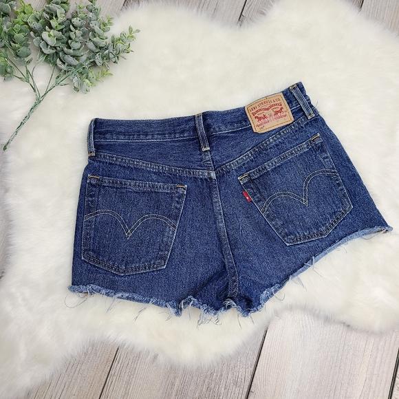 Levi's 501 Dark Wash Cut Off Jean Shorts
